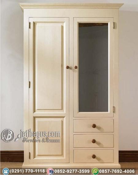 Lemari Pakaian Minimalis Pintu Kaca Tiga Laci