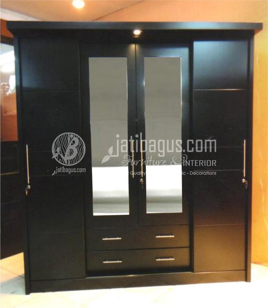lemari pakaian minimalis black plus kaca
