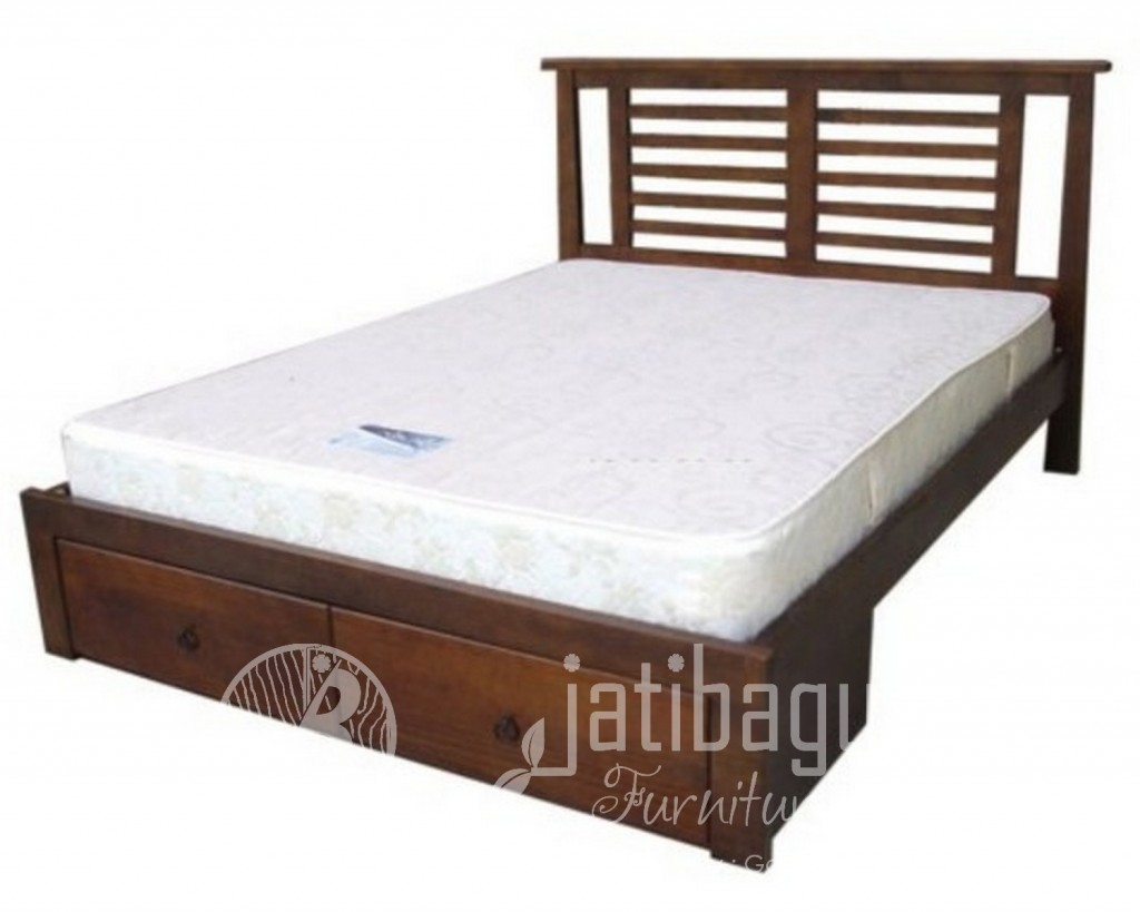 Tempat Tidur Jati Minimalis Jari Jari 2 Laci Modern Murah