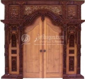 Pintu Gebyok Ukiran Kaligrafi Jati