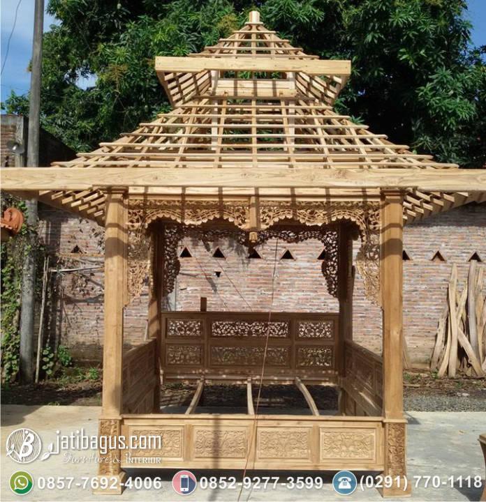 Gazebo Jati Ukiran Jepara Klasik Atap Susun