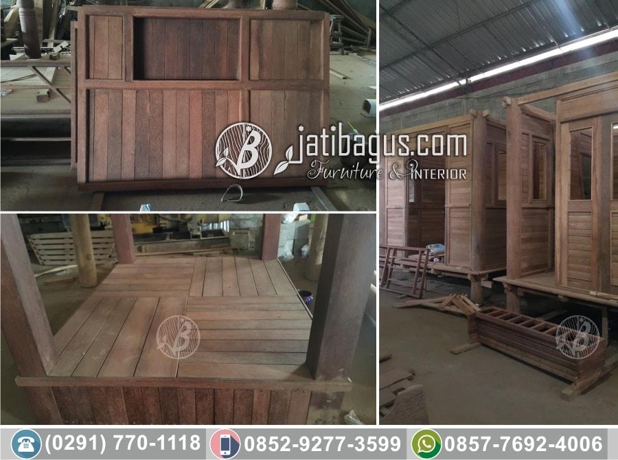 Produksi gazebo kayu kelapa minimalis
