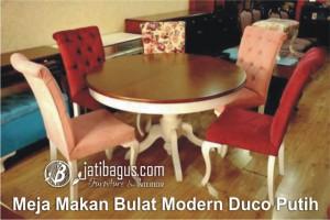 Meja Makan Bulat Modern Duco Putih