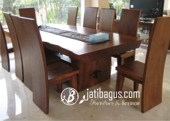 Meja Makan Kayu Trembesi Blok - Solid Wood  Kayu Meh