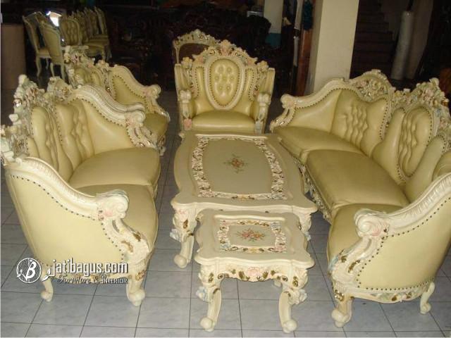 Kursi Tamu Sofa Ukir Monaco Gajah Duco Putih