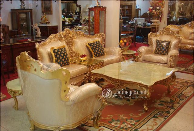 Kursi Tamu Sofa Ukir Mewah Emas Putih Meja Marmer