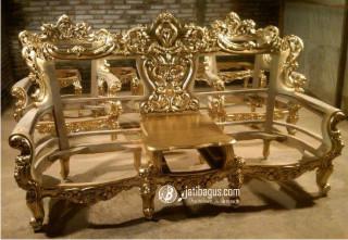 Model Kursi Tamu Sofa Mewah Emas Putih