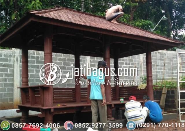 Pemasangan Gazebo 4x2 Meter Atap Sirap di Probolinggo Jawa Timur