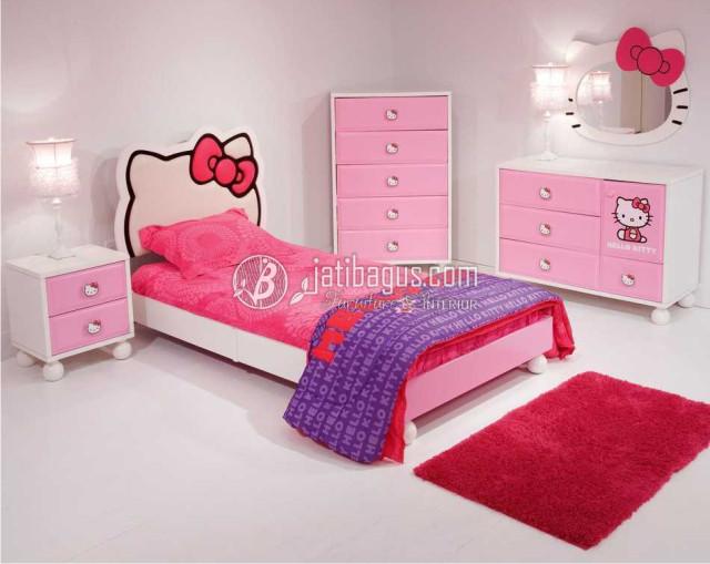 Set Kamar Tidur Anak Perempuan Model Hello Kitty Pink