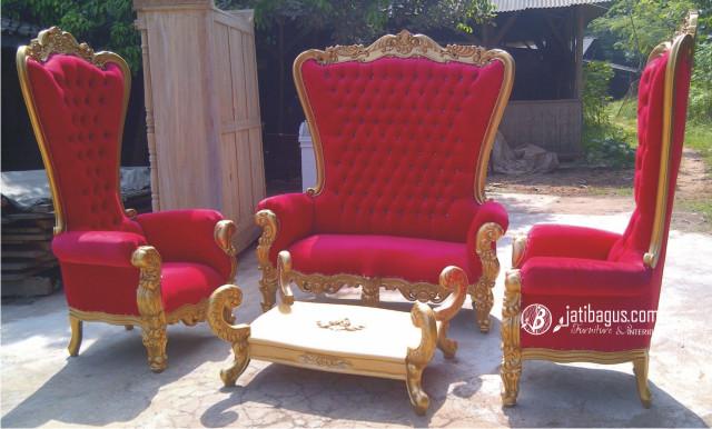 Set Kursi Sofa Mewah Princess Syahrini Warna Merah