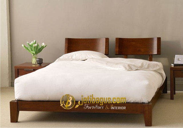 Tempat Tidur Pasangan Lengkungan Nyaman jati