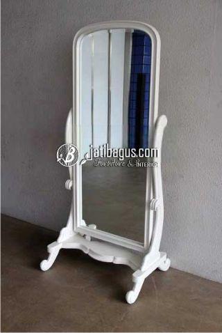 Mebel Kaca Cermin Goyang Cat Duco Putih