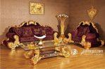 Kursi Tamu Sofa Ukir Lengkung Kanan Kiri Emas