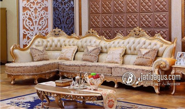 Set Sofa Sudut Ukir Model Luxury Luxe Trend Oscar Mewah