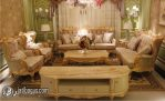 Kursi Tamu Sofa Bulu Angsa Emas Mewah Meja Marmer