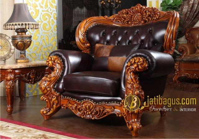 Kursi Tamu Sofa Ukir Mewah Royal Baroque 1 seat