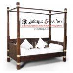 Bale-bale Antik 4 Tiang Kanopi Model Klasik Bahan Kayu Jati