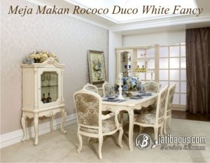 Set Meja Makan Rococo Fancy White Duco