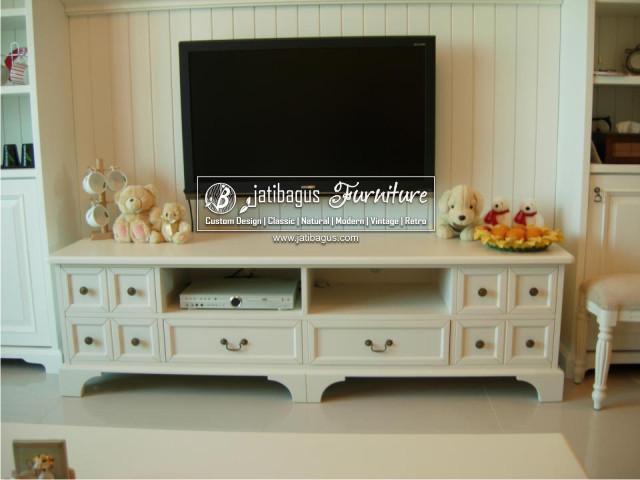 Bufet TV LCD Pendek Minimalis laci Kotak Duco