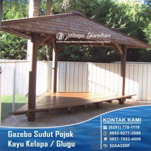 Gazebo Sudut/Pojok Kayu Kelapa ( Glugu )