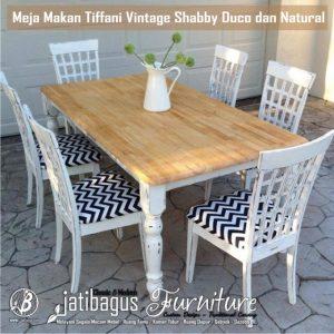 Meja Makan Tiffani Vintage Shabby Duco dan Natural