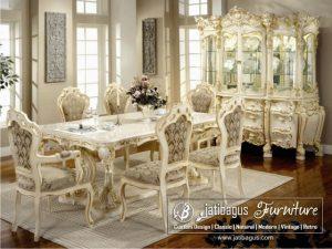 Set Meja Makan Ukir Putih Duco Victoria Minerva