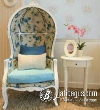 Sofa Balon Kubah Vintage Duco Putih