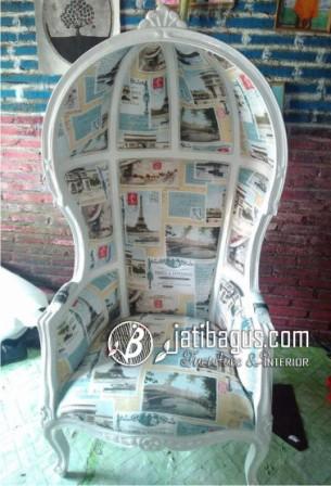 Sofa Balon Kubah Vintage Putih