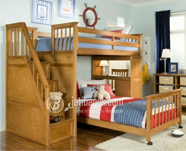 tempat tidur anak Tingkat Tangga Laci dan Meja Belajar