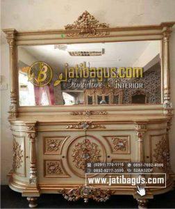 Bufet Cermin Nusantara Lengkung Duco Emas / Meja Bufet dan Cermin Rias