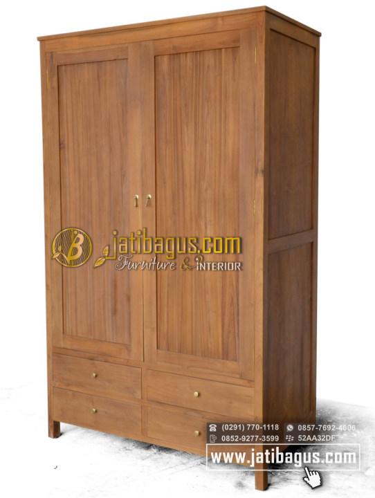 Lemari Pakaian Minimalis 2 Pintu Jati