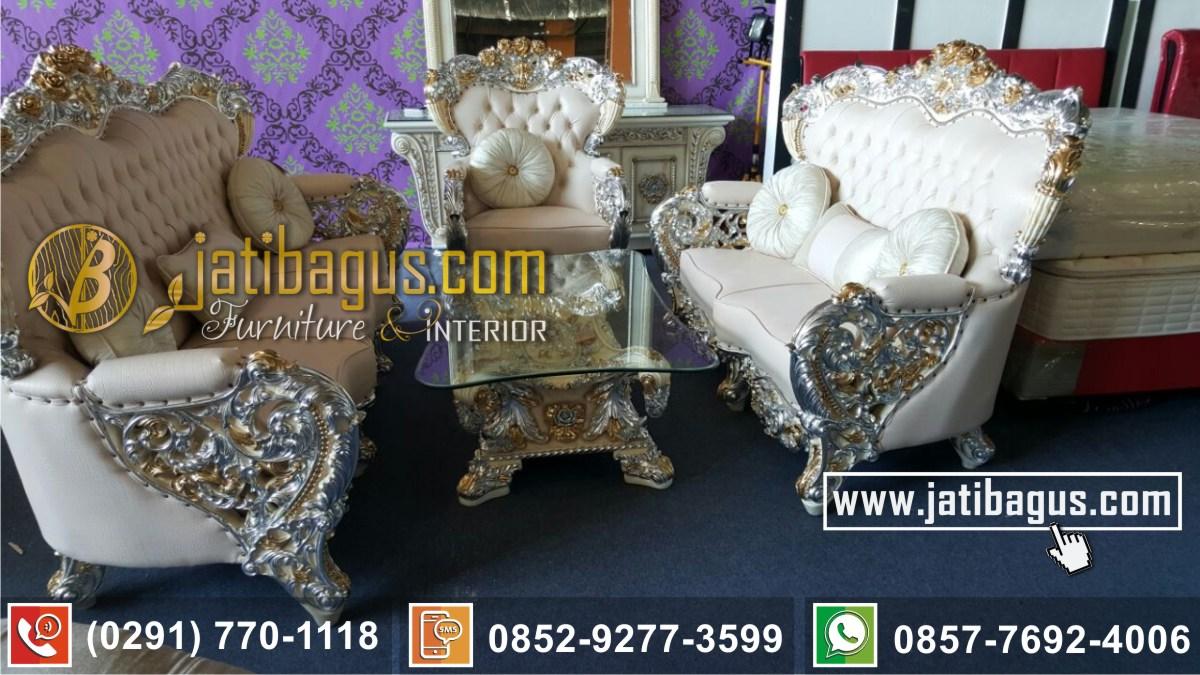 Kursi Tamu Sofa Mewah Bellagio White Kombinasi Gold Silver