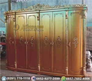 Lemari Pakaian 6 Pintu Kayu Warna Emas