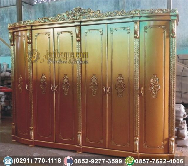 Lemari Pakaian 6 Pintu Kayu Finishing Emas