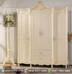 Lemari Pakaian Duco Putih Model Eropa 4 Pintu 2 Laci Ukir