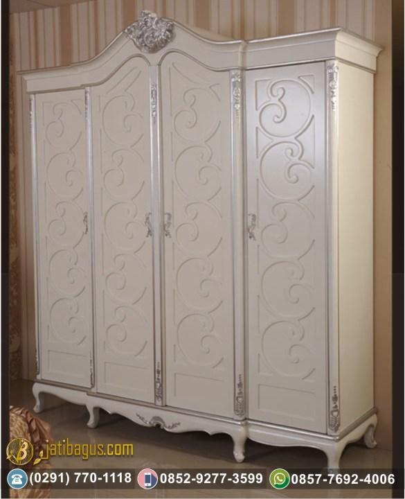 Lemari Pakaian 4 Pintu Putih Variasi Silver White Duco