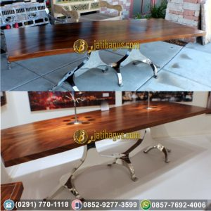 Meja Makan Kaki Besi / Stainless Solid Wood Trembesi