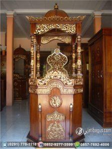 Mimbar Masjid Kayu Jati Ukir Kaligrafi