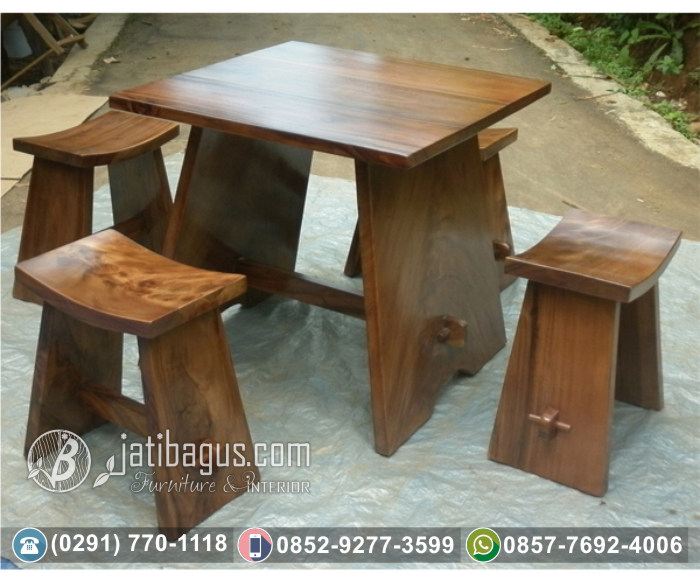 Kursi Meja Trembesi Solid Wood Model Huruf A