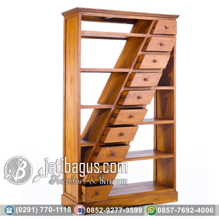 Rak Buku Minimalis Jati Model Diagonal