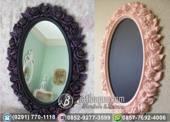 Frame Bingkai Cermin Ukir Jepara Mewah Model Mawar