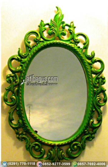 Frame Bingkai Cermin Ukir Jepara Mewah Oval Green