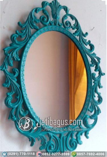 Frame Bingkai Cermin Ukir Jepara Mewah Warna Biru