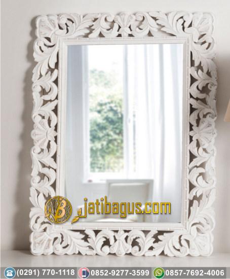 Frame Pigura Cermin Ukir Jepara Mewah Duco Putih