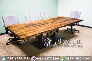 Meja Trembesi Solid Wood Table Kaki Stainless