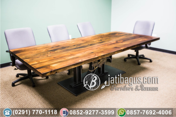 Meja Trembesi Solid Wood Table Kaki Stainless