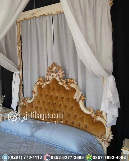 Tempat Tidur Ukir Gold Kanopi Busa