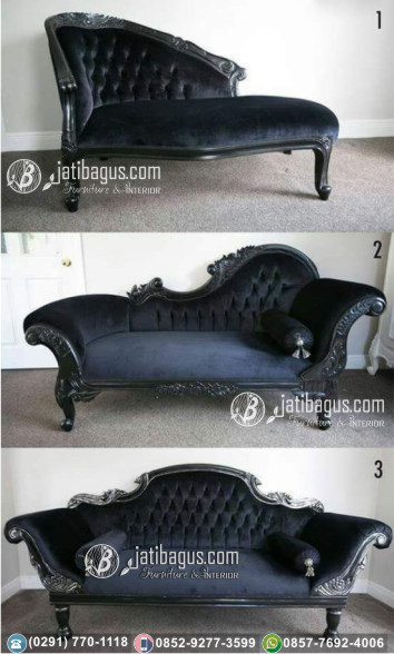 Kursi Long Sofa Tunggal Black Louis