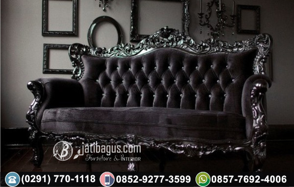 Kursi Long Sofa Tunggal Black Victorian