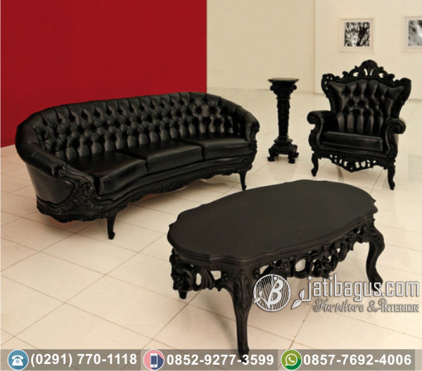 Kursi Tamu Sofa Ukir Black Kombinasi Victorian